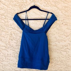 BCBGmaxazria blue off the shoulder blouse NWT